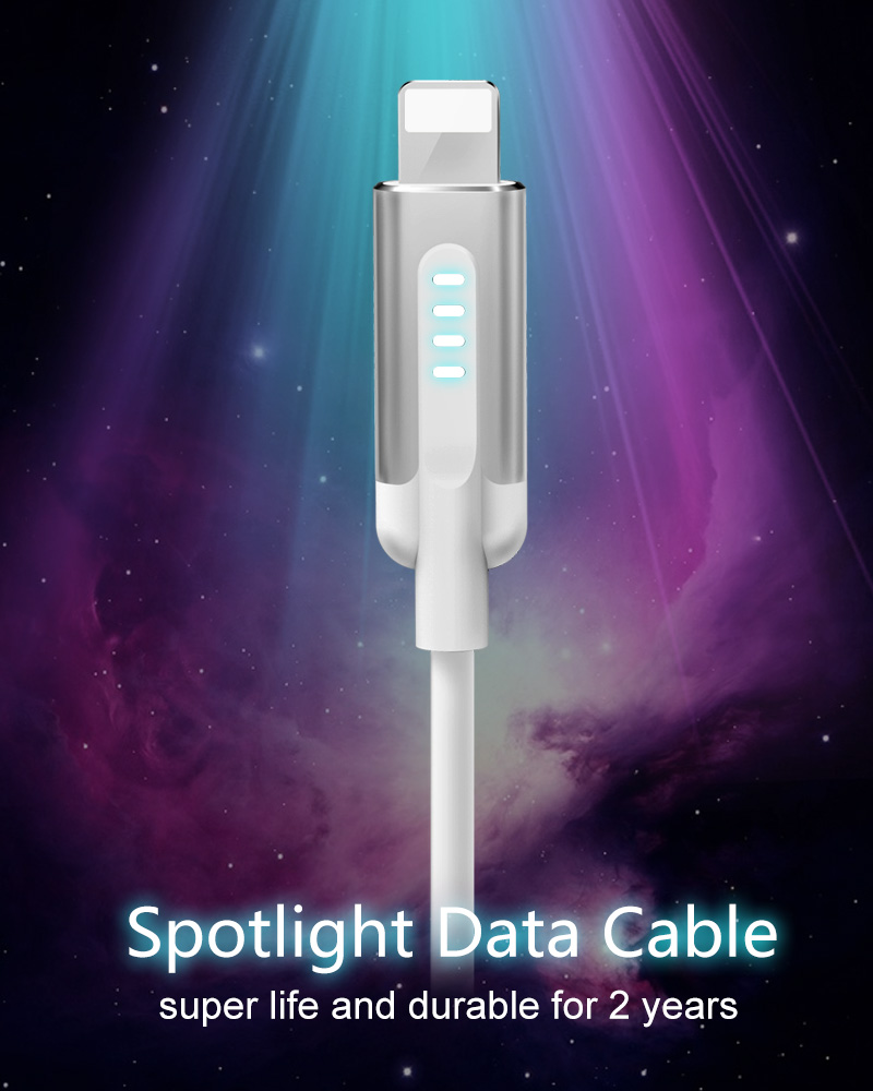 OEM custom high quality gift cell phone fast charging data cable with LED lights