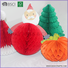 China Supplier Christmas Decoration Santa Clause Paper Honeycomb ball
