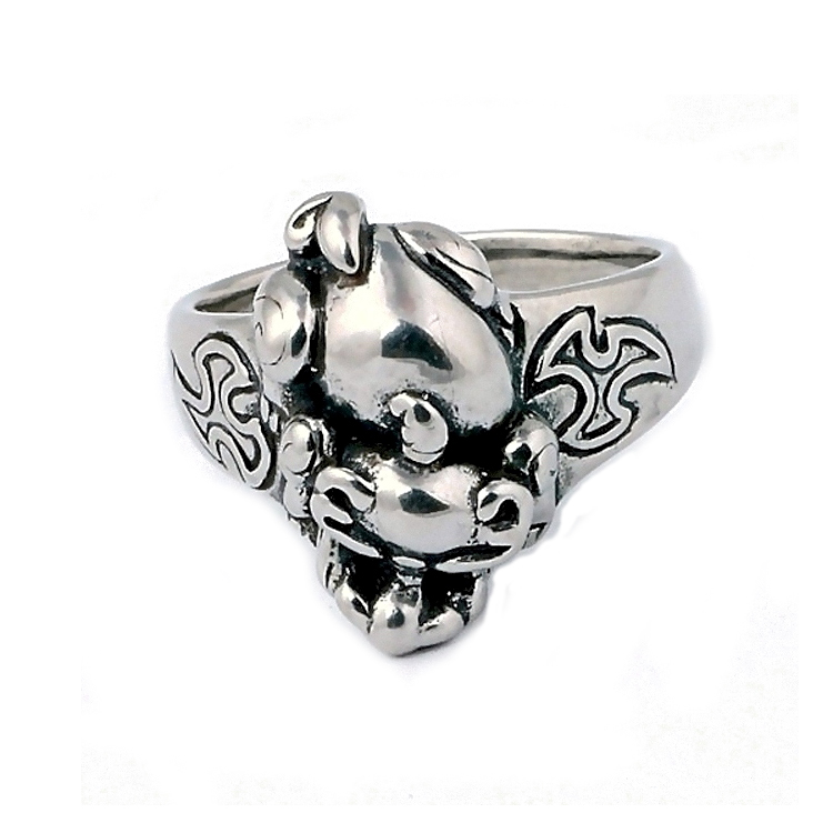 Chinese style ancient monster head ring,stainless steel jewelry casting