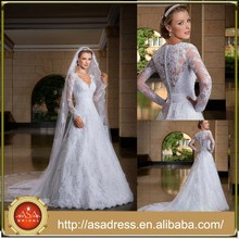 Hot Sale Long Sleeve V Neck Appliqued Saudi Arabian Arabic Muslim Hijab Bridal Wedding Dress