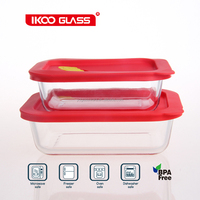 Wholesale food storage silicone seal glass containers with lids