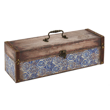 Wholesale home decor single bottle antique wine box wooden