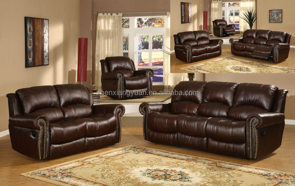 2017 Living room furniture luxury recliner bonded leather sofa with nail