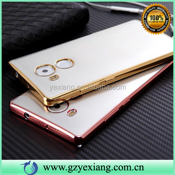 Cheap Price Gold Color Electroplate Soft Case For Huawei Mate 8 Mobile Phone Cover