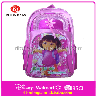 Hot Sell Dora Cartoon Picture Of School Bags With Flower Lace