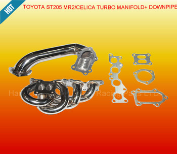 TURBO EXHAUST MANIFOLD +DOWN PIPE FOR T*OYOTA CELICA GT4 MR2 ST205 3SGTE REV 3 8 BOLT