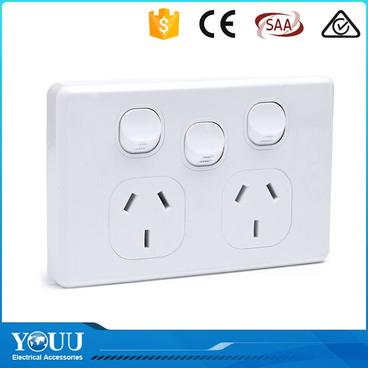 YOUU Latest 3 Gang 2 Way Metal Cladding Wall Switch And Multifunction Outlet