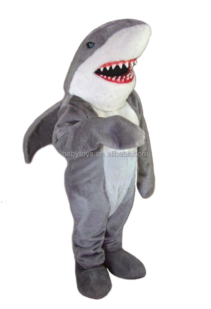 ICTI Audited Factory Custom Plush Grey Shark Adult Animal Costume