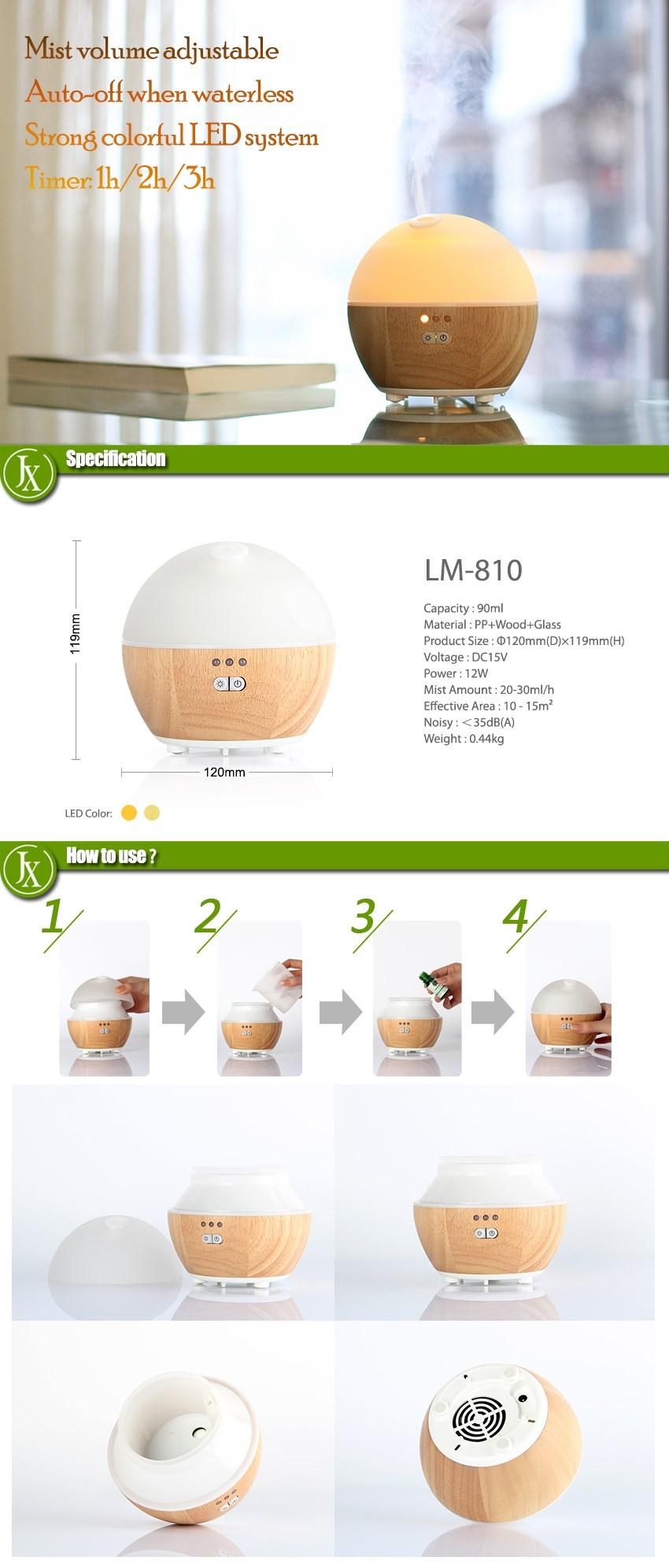 Health Care Product with LED Color Light Ultrasonic Aroma Diffuser with Nebulizing Diffuser WOOD + GLASS