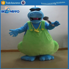 Blue hippo singer superstar karaoke concert artist sunglasses and microphone high quality custom mascot costume