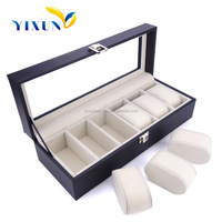 Hot custom new products for wholesale 6 watches pocket watch case/ packaging box for watch with lock