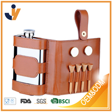 stainless steel Golf Travel Flask Gift Set with Oil tanned leather case
