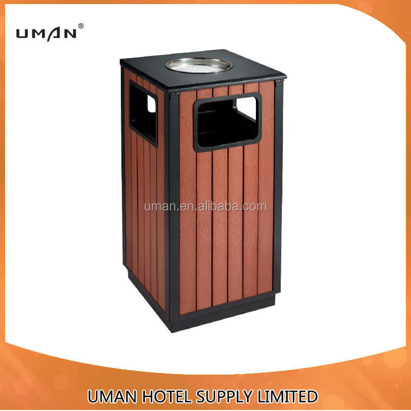 outdoor rubbish bin/wood outdoor waste bin with ashtray