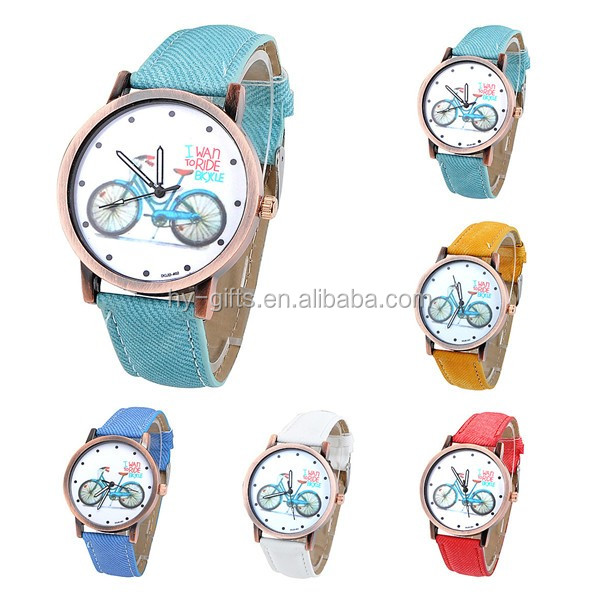 sports fancy ride bike watch fabric quartz watch canvas fabric watch