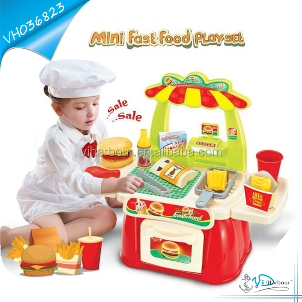 Mini Fast Food Play Set Toy With Hamburger and Chips For Kids