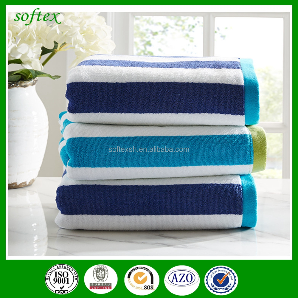 china promotion wholesale striped beach towel 100% <strong>cotton</strong> with <strong>cotton</strong> 200*100,150*80