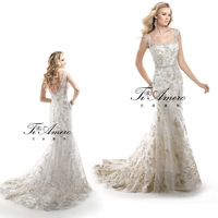 2015 Small Train Mermaid Classic Little Cap Straps Wedding Gowns/Appliqued Beaded Bridal Dresses Wedding Evening Dresses In UK