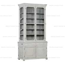 Vintage french furniture recycled pine wood cabinet hand painted beach off white colour living room vitrine showcase design