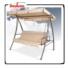 3 Seats Patio Folding Canopy Swing Chair With Cushion