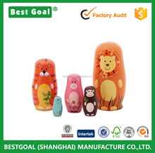 Best seller 5pcs Handmade Wooden Cute Cartoon Animals nesting doll