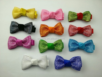 Colorful small glitter baby hair bowtie with single prong clip