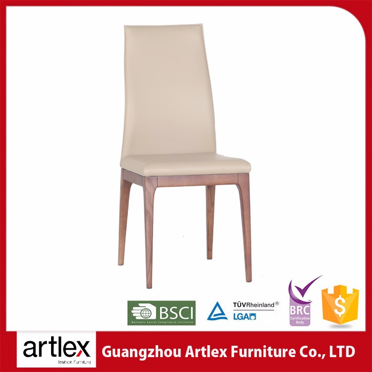 ALC-1685 Artlex Restaurant Used Modern White PU Leathe Solid Foot High Back Wooden Dining Chair