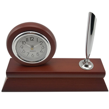 2018 new and practical custom multifunctional digital wooden desk clock with pen holder and cardcase