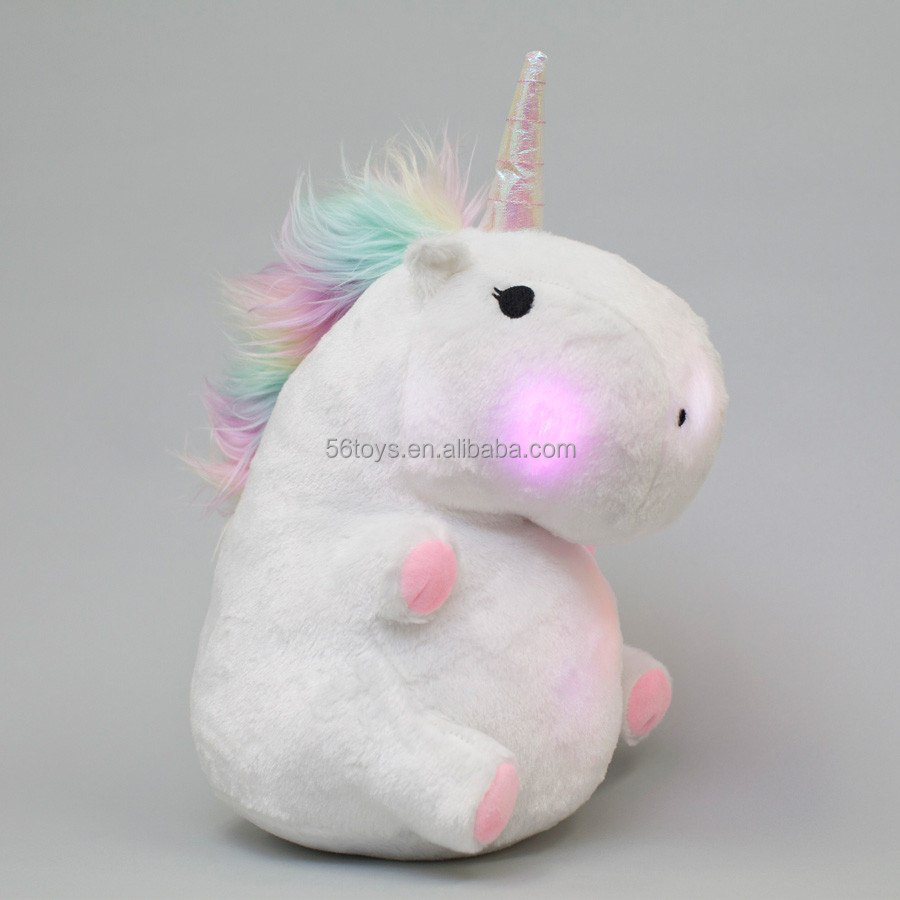 magic light up white stuffed unicorn pillow soft plush toy for party