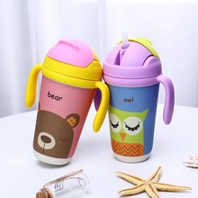 BPA free non spill bamboo fiber kids children baby travel drinking training sippy cup China wholesale with lid and straw handle
