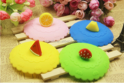 Hot sales Fruit/animal decoration Silicone Cup Lid
