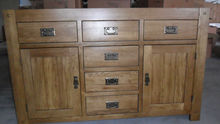 Rizhao Harmony Brand solid oak multi drawer and 2 door natural oak color sideboard