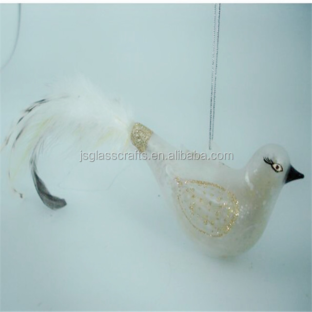hand painted glass bird with black and white feathers for decoration