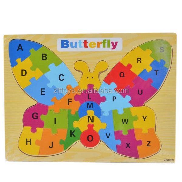 Educational jigsaw puzzle wooden alphabet letters for kids