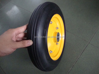 Yellow color metal rim 14x4 solid rubber wheels