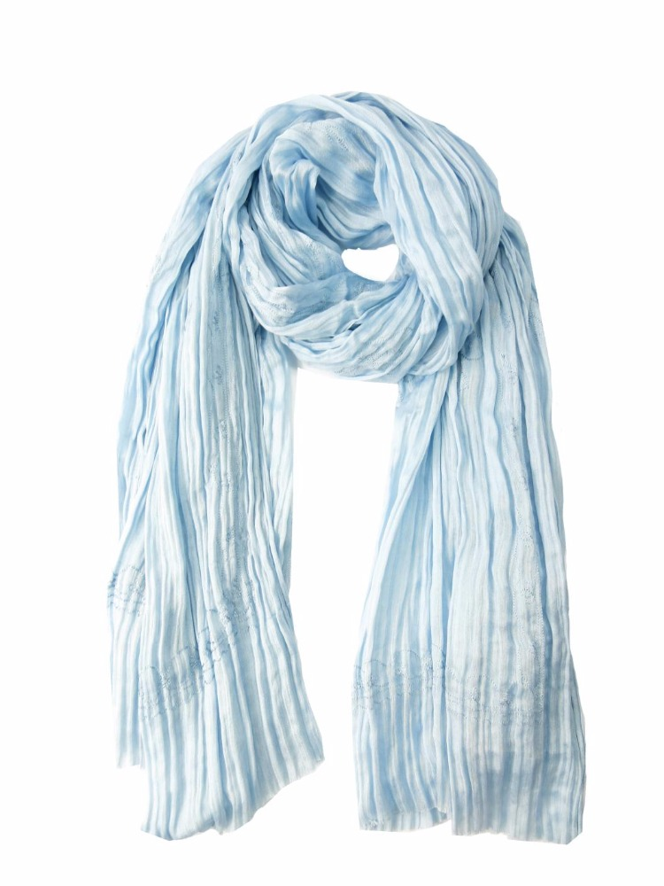 Blue Spring Summer Autumn Simple Basic Viscose Embroidery Causal Wear Women Female Ladies Scarf Shawl