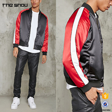 OEM service Chinese factory custom mens contrast satin bomber jacket