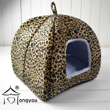 Print Yurt Style Dog Cat Bed Indoor House Folding Pet Tent With Plush Mat Pad