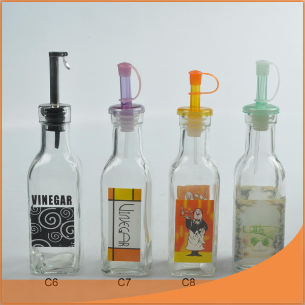 180ML oil glass bottle set in 5 pcs