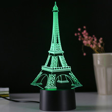 KH-NL018 KING HEIGHT Wholesale Eye Protection Reading Study LED Children Bedroom Tower Shape Table 3D Lamp with Eiffel Tower