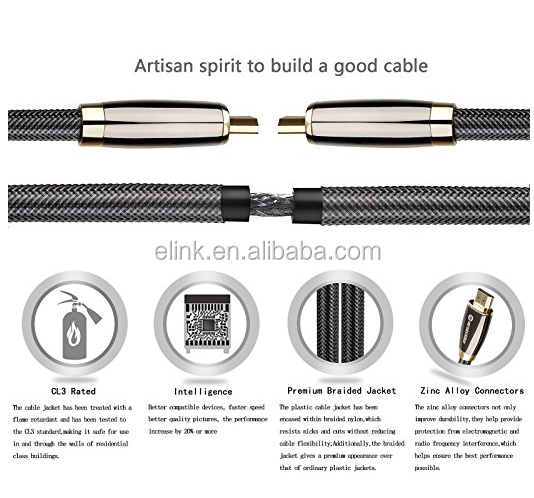 hot selling gold plated metal shell 26AWG OD9.0mm 4k@60Hz hdmi cable with ethernet Nylon mesh