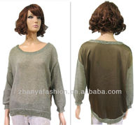 Ladies fancy sweater attached with woven fabric