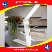 Rechargeable LED table lamp with LCD calendar/clock/temperature