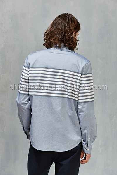 Fashion british style contrast striped slim fit long sleeve mens shirts