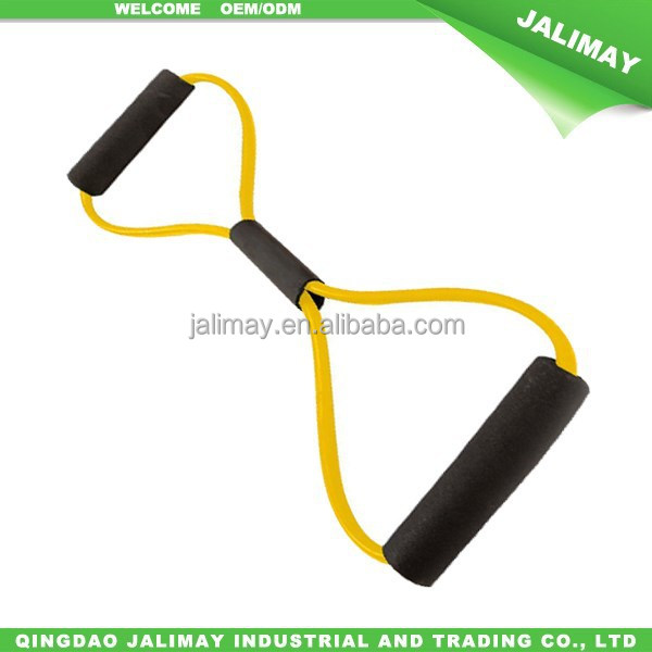 Yellow latex exercise bands rubber pull exerciser