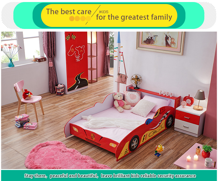 Cheap wooden full adult sized race car bed , kids style car children beds for sale