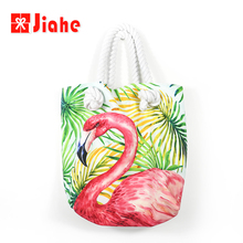 Flamingo wholesale canvas rope handle bags beach woman