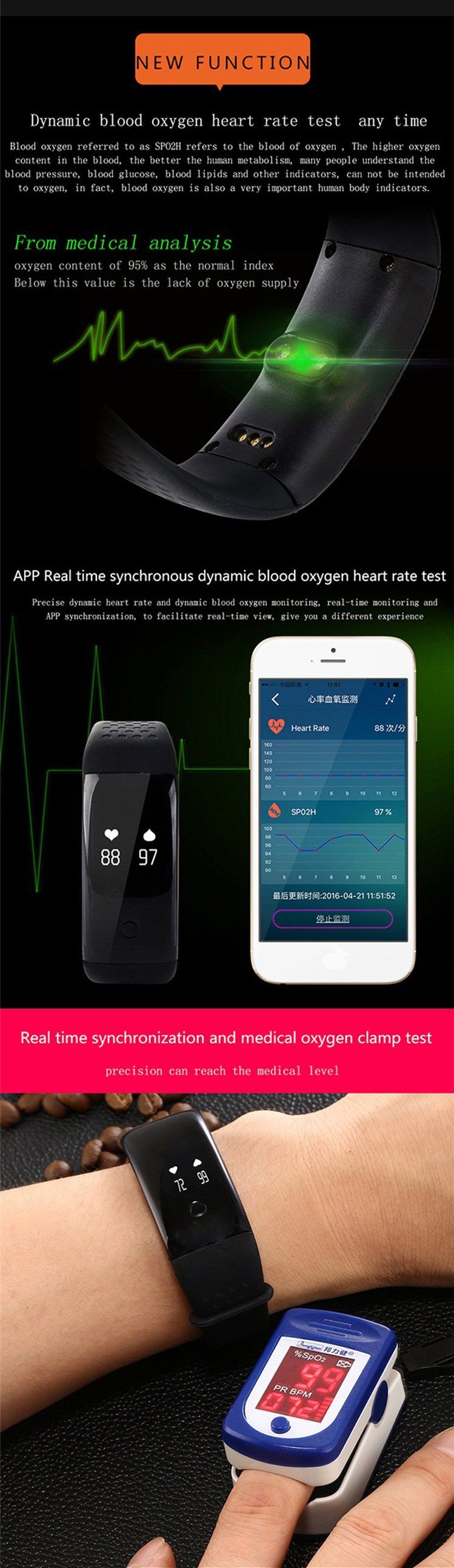 Blood oxygen smart bracelet heart rate monitor wristband bluetooth activity fitness tracker band for IOS and Android