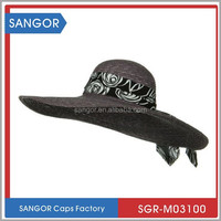 Women Natural Straw Summer Hats With Black Floral Band