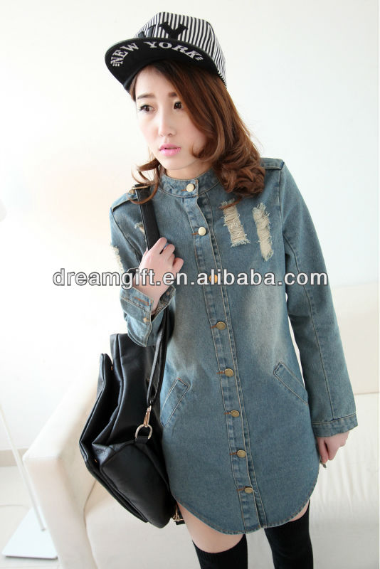 European and American big collar Slim long-sleeved dress code Cowboys tight denim skirt(02.11)