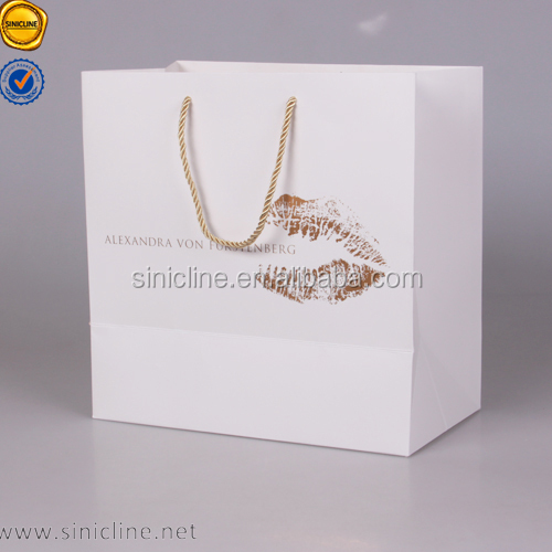 Sinicline unique foil stamping white luxury paper bag for wedding dress